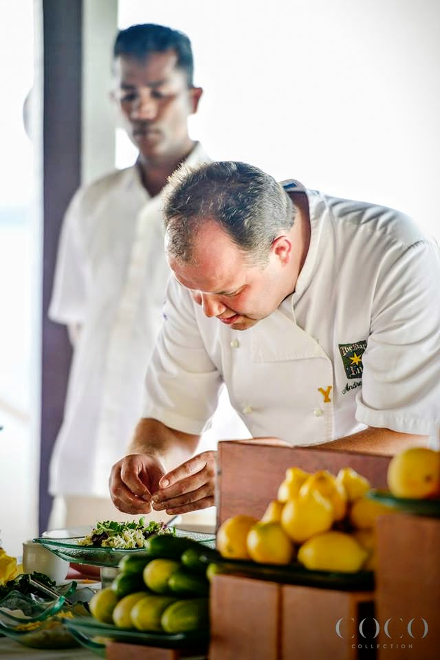 Chef Andrew Pern preparing Dressed King Crab with Green Herb Mayonnaise,Tomato & Basil Salad,Paramesan Crips, Bloody Mary Dressing, Savour 2015