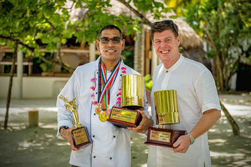 Chef Sobah with Laurie Burr, Soneva Fushi's GM