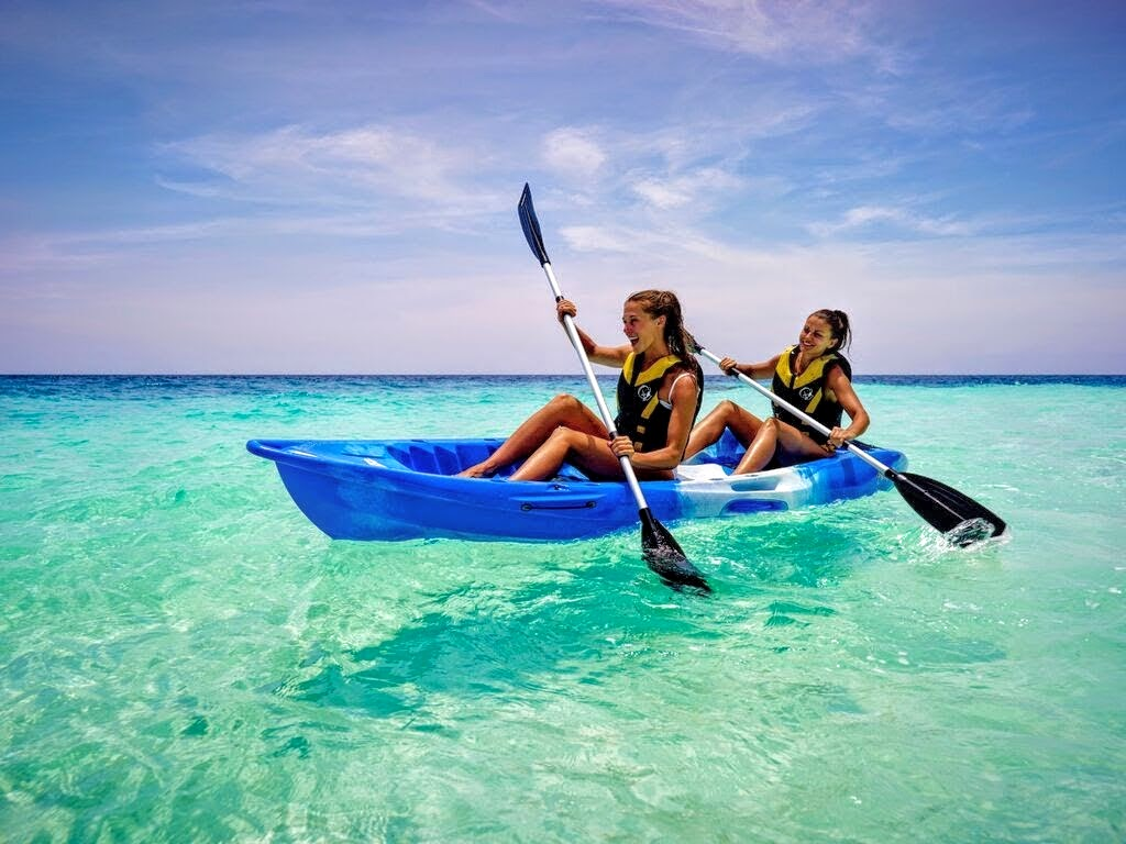 Learn catamaran skills or just ride for fun; kayaking in the lagoon is easy, Outrigger Konotta Maldives Resort
