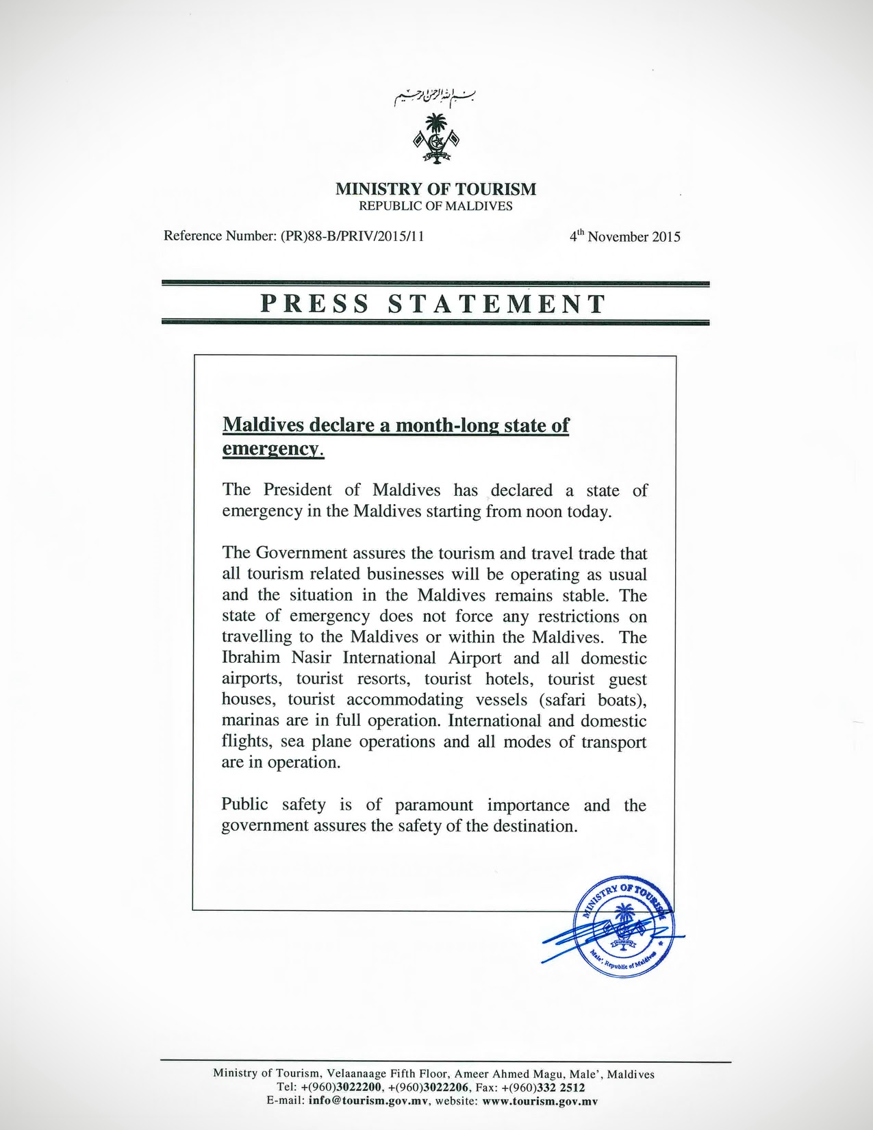 Press Statement from Maldives Ministry of Tourism