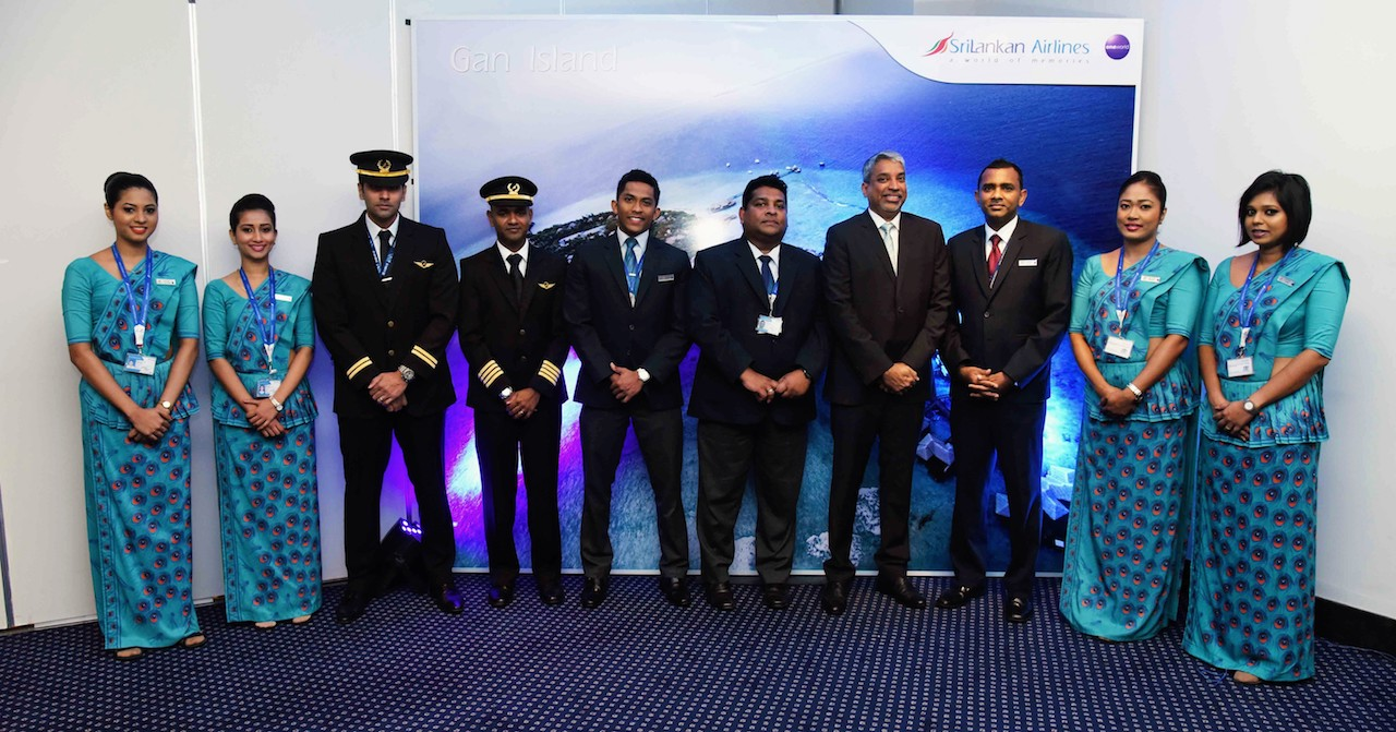 Crew, SriLankan Airlines. SriLankan becomes first international airline to fly to Gan Island