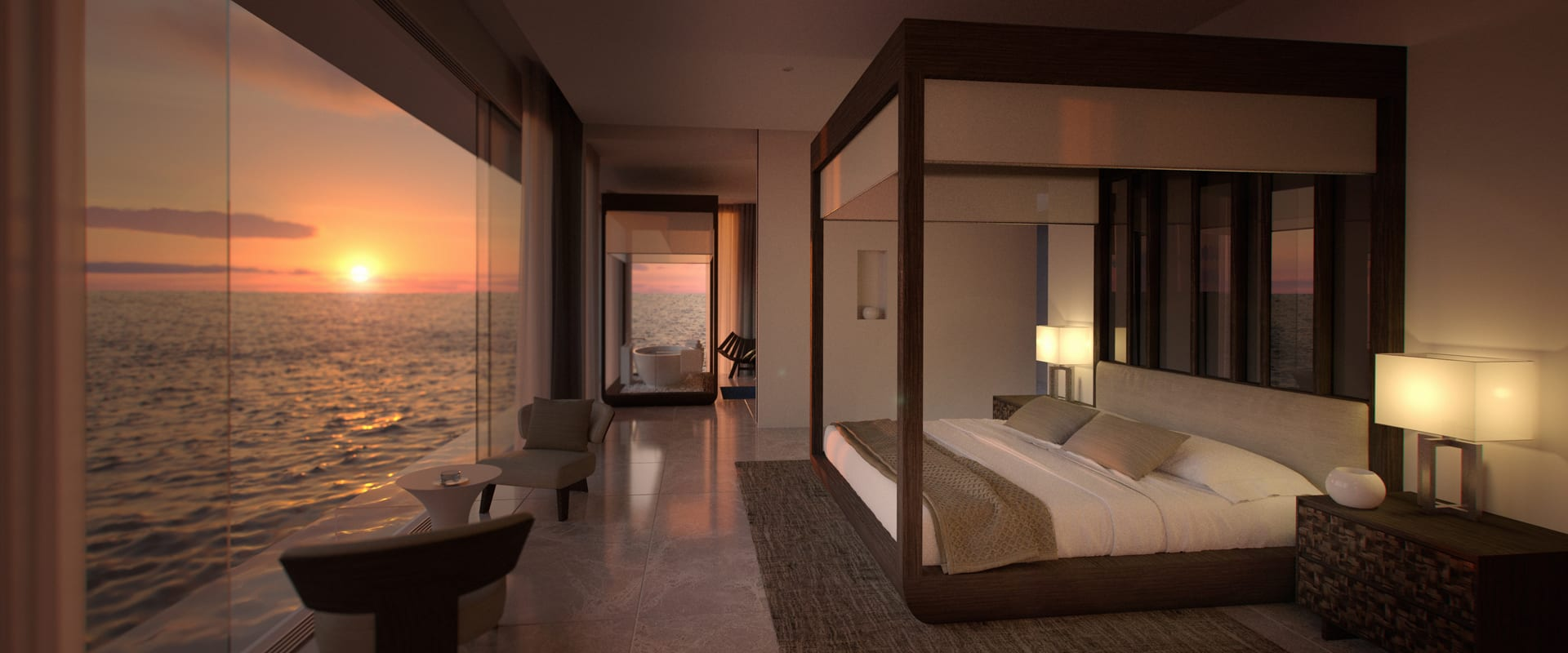 The master bedroom on the upper deck offers sweeping views of the ocean