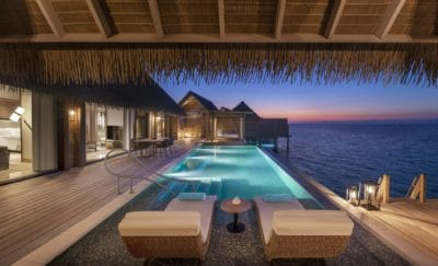Reef & Overwater Villa's Sundeck With Pool at Night