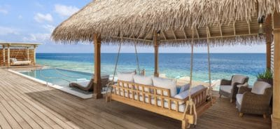The Outdoor Pavilion offers Shade & Comfort (All Overwater & Reef Villas with Pool)