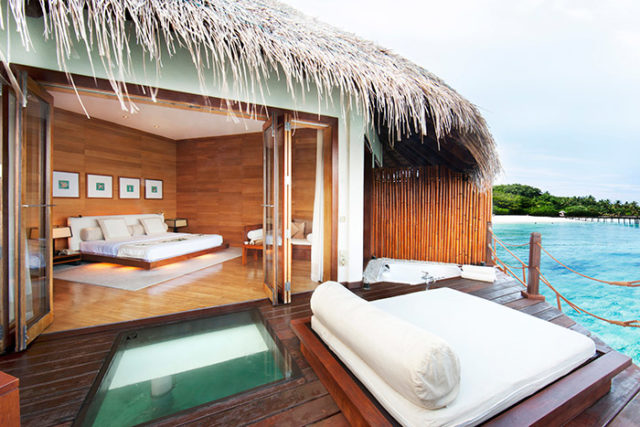 Adaaran Prestige Water Villas - Water Villa Bedroom - Sundeck with Glass Floor